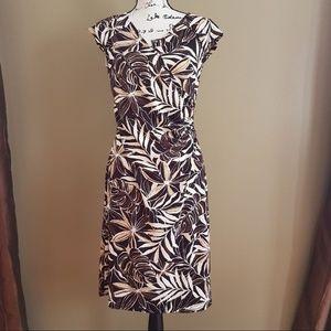 LOFT Wrap Dress Floral Leaves Side Zipper size 6